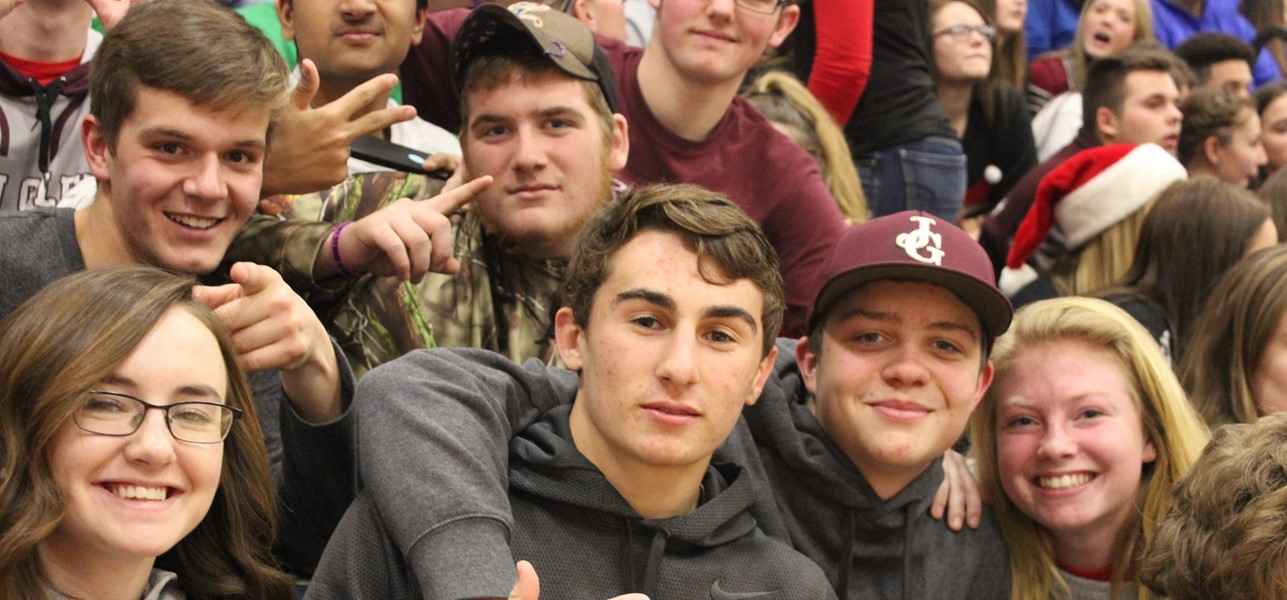 students at bball game