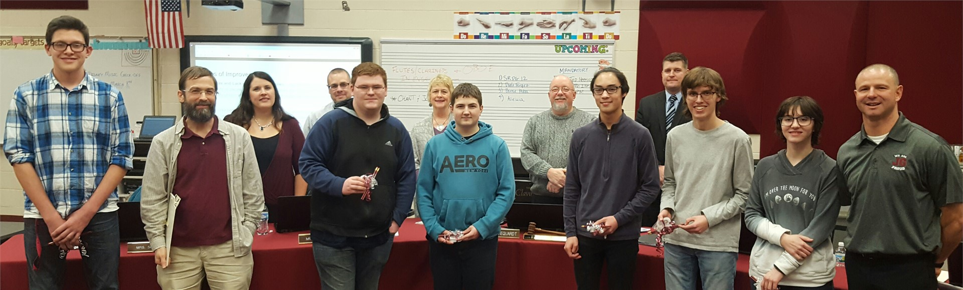 Robotics students from JGHS along with teacher Mr. Joy, were recognized and gave a demonstration at the February Board of Education meeting