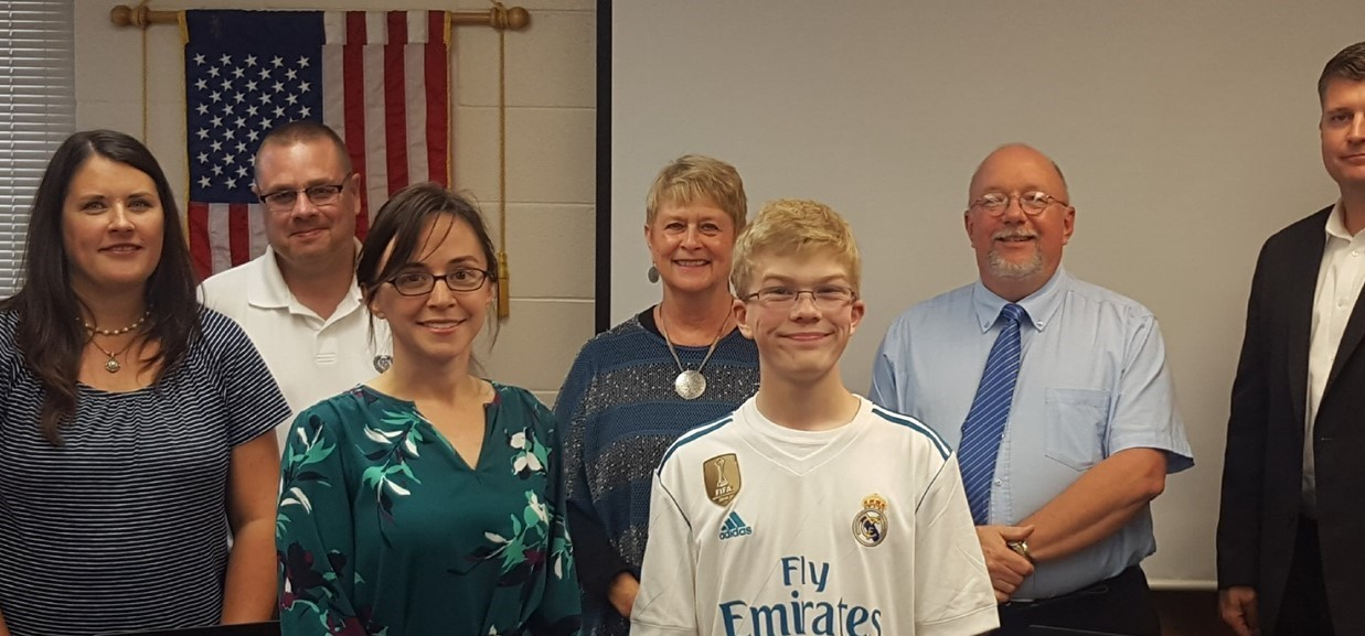 French teacher Ms. Bachmann and junior Harry Harmon presented on the international trip to Spain and France this past summer